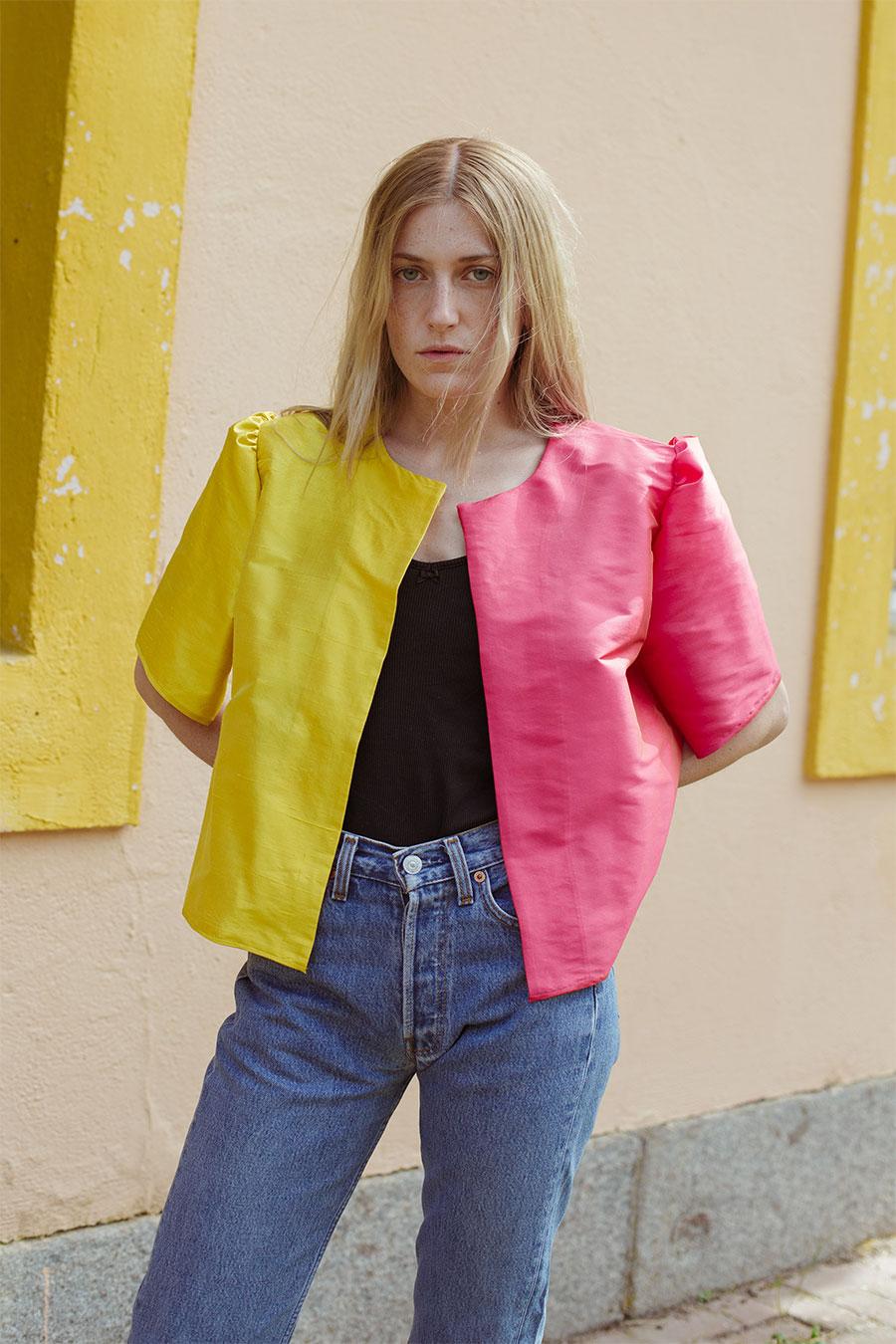 chaqueta verano bicolor rosa amarillo