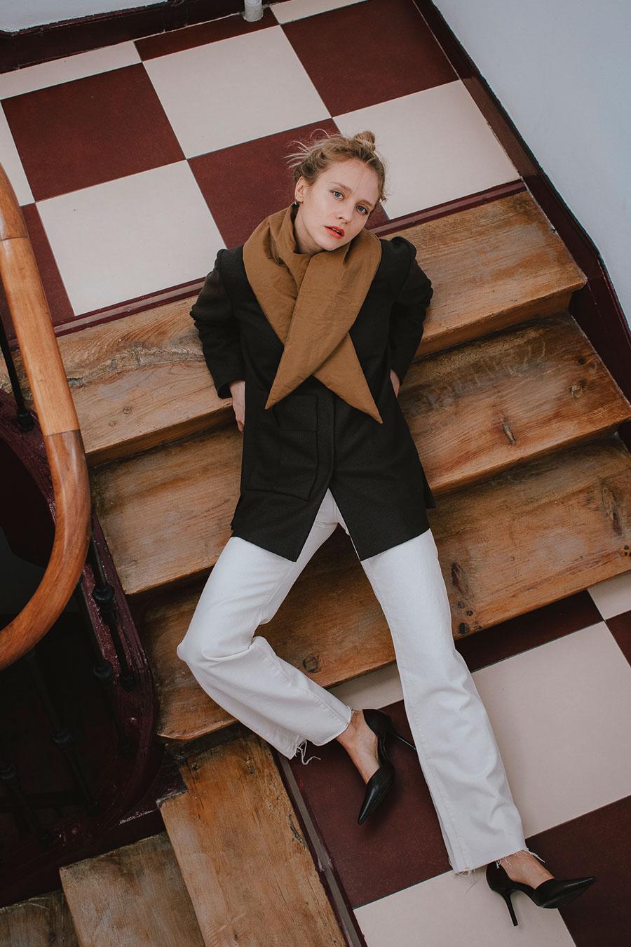 abrigo trenzado marron de lana